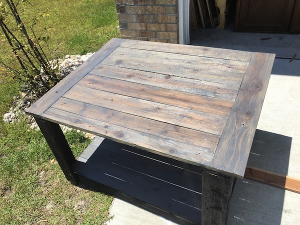 Black And Weathered Grey Stained Coffee Table Handmade