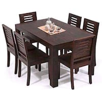 rectangular brown wooden table with four chairs dining set Jodhpur, 342005