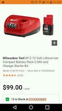 Brand new Milwaukee m12 2amp battery and charger Fergus, N1M 1X6