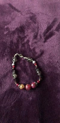 Silver and red beaded bracelet