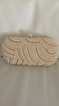 Hvit perle beaded clutch vesken