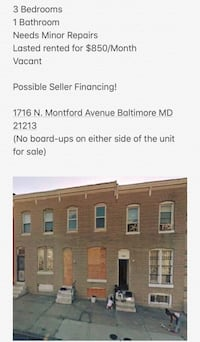 HOUSE For sale 3BR Baltimore, 21202