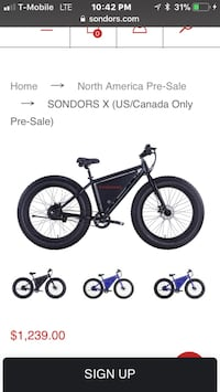 Ebike Sondors X Fat Tire Like New $500 Off