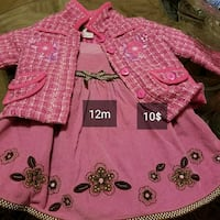 girl's pink floral button-up jacket and pink floral dress