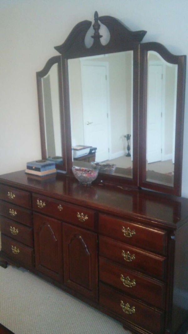 Solid wood high end dresser with mirror