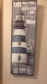 brown wooden framed painting of lighthouse Halifax, B3P 1L4