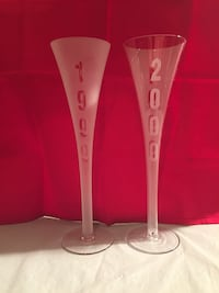 (2)Millennium 1999/2000 Celebration Champaign Glasses Edmonton, T6C 4C8