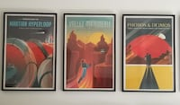 Set Of 4 Framed SpaceX Mars Future Space Travel Retro Print Wall Art Cape Coral