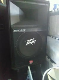 black and gray Peavey subwoofer speaker
