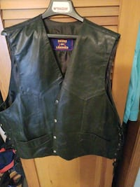 black leather button-up vest Beachwood, 08722