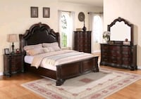 Sheffield Dark Cherry Queen Sleigh Bed | B1100   Houston