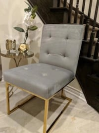 New Gray Velvet Dining Chair
