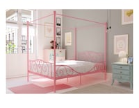 Full Size Pink Canopy Metal Bed Frame (Mattress sold Separate!!) 1204 mi