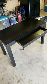 black and brown wooden table