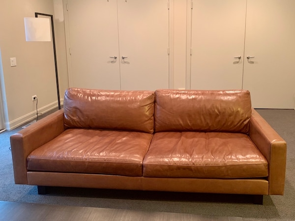 Wondrous Used Roomboard Hess Custom Brown Leather Sofa For Machost Co Dining Chair Design Ideas Machostcouk
