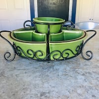 Wrought Iron and Stoneware Serving Set
