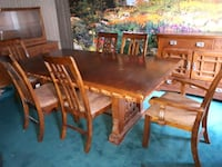 rectangular brown wooden table with six chairs dining set Toronto, M1L 3P4