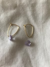 14 k leverback type earrings with purple crystals Rochester, 14626