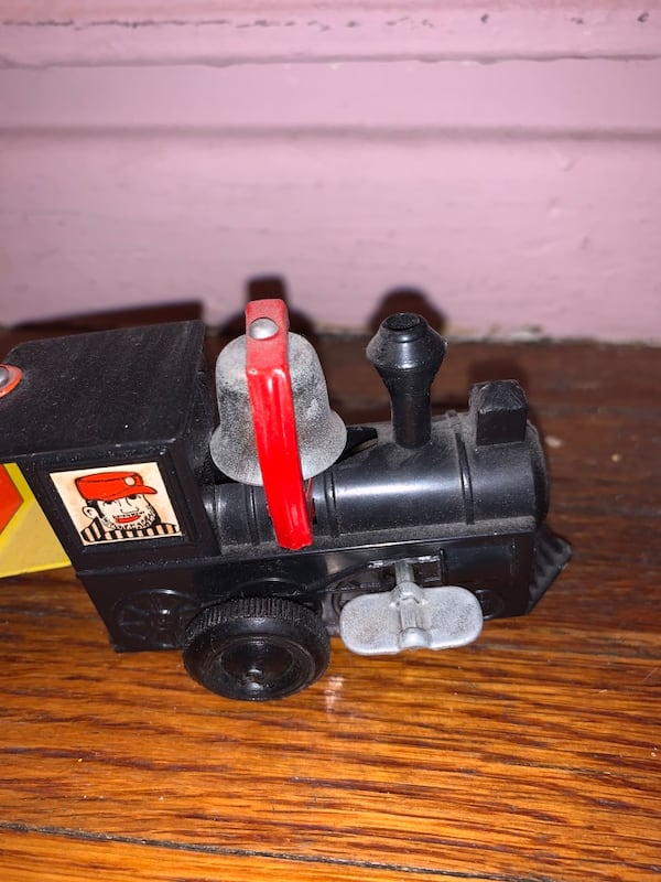 Vintage metal tin wind-up toy train bell works kid baby play e90368c1-2a5e-4297-b0fa-521c7d8ddf06