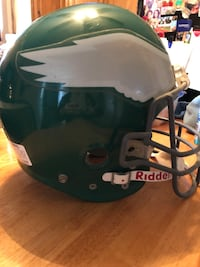 Philadelphia Eagles football helmet. Size large. Has a few scratches on it and is missing the helmet clip on one side. The inside of the helmet is in great condition   York, 17402