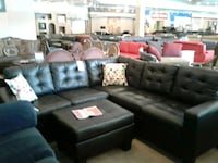 Black leather sectional sofa with throw pillows Phoenix, 85018