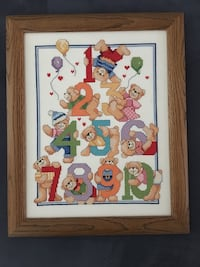 Frame containing artwork with bears and numbers 1-10 Clarksburg, 20871