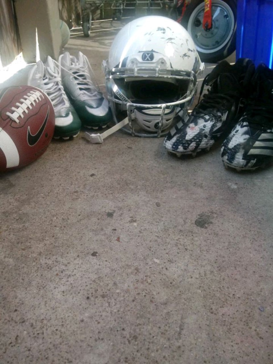 Photo 2 size 14 cleats, Adidas, and Nike, Football and Xl Xenith helmet