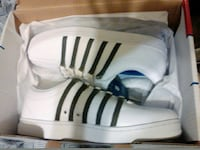 white-and-black lace-up sneakers with box