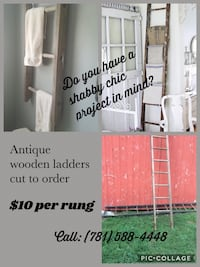 Antique wooden ladders cut to order for your shabby chic projects.