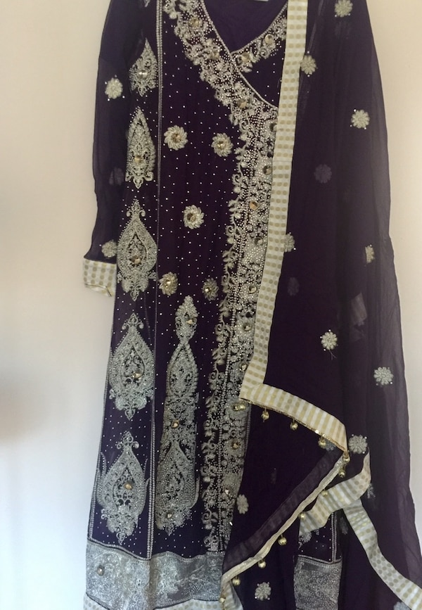 Purple color 4 piece beautifully designed with palazzo trouser
