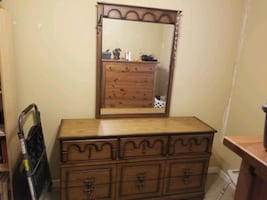 Dresser with mirror + night table
