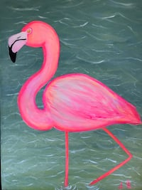 Pink flamingo painting  North Vancouver, V7L