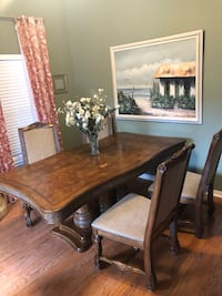 rectangular brown wooden dining table with chairs set Tampa, 33629