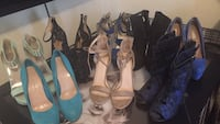 four pairs of assorted-color heeled sandals 2337 mi