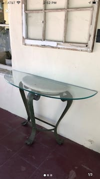 "Cute glass side table 50"" by 16"""