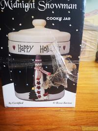 Becca Barton Cookie Jar Midnight Snowman Holiday Decoration
