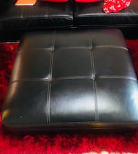 Black leather tufted sectional sofa Charlotte