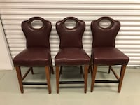 Set of 3 Counter Height Bar Stool Chairs w/ Studded Trim - Excellent North Wales, 19454