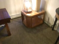 brown wooden framed glass top side table Colorado Springs, 80917