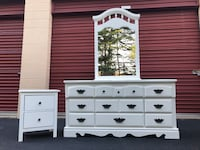 White Solid Wood 9 Drawer Long Dresser With Mirror and Nightstand  Woodbridge, 22192