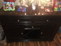 black wooden TV stand with cabinet 2271 mi