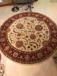 round brown and white floral area rug