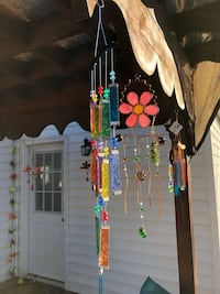 Metal Pink Pearl Stained Glass & Beads Wind Chime Sun Catcher Mobile