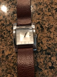 Kenneth Cole square silver analog watch with brown leather strap Brenham, 77833