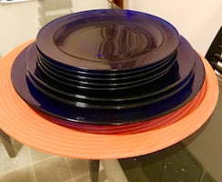 Round blue glass plats France