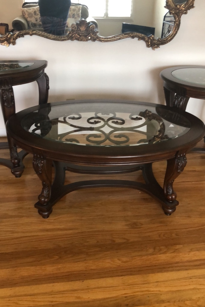 Glass And Cherrywood Coffee Table