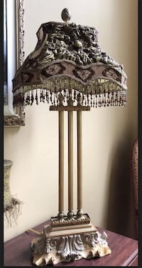"One Of A Kind 3 Column Victorian Lamp With Fringe Shade Metal Base 30"" H Newtown, 18940"