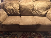Brown suede 3-seat sofa Clovis, 88101