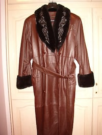 Women 100% Genuine Soft Leather Coat With Fur Quilted Collar  Richmond Hill