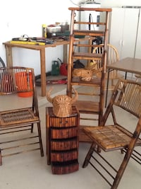 Bamboo finish folding chairs and a four drawer ches. Works Nice as an end table . Also a bull  donkey straw mask from Portugal and Spain Wells, 04090